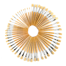 Short Handled Round Hog Hair Paint Brushes  medium