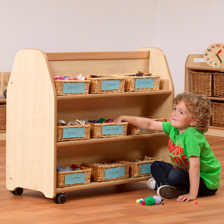 Mobile Double Sided Wooden Trolley  large