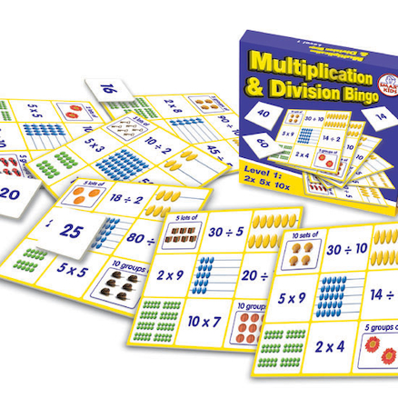 Multiplication and Division Bingo Set of 6 Boards  large