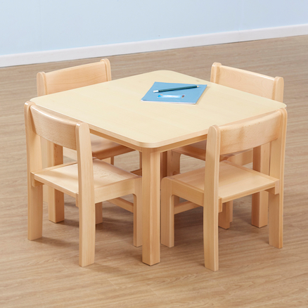 Beech Veneer Square Classroom Table  large