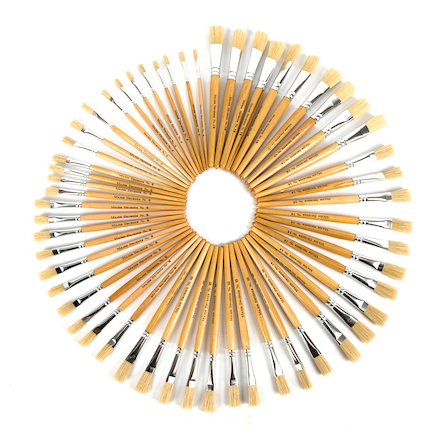 Short Handled Round Hog Hair Paint Brushes  large