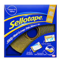 Sellotape Hook/Loop Self Adhesive Roll 25mm x 6m  medium