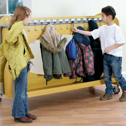 Double Sided Cloakroom Trolley with 30 Coat Hooks  large