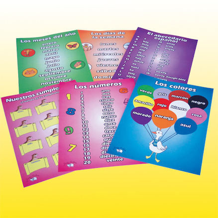 Spanish Vocabulary Beginners A3 Posters 6pk  large