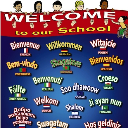 Multilingual Welcome To Our School Sign  large