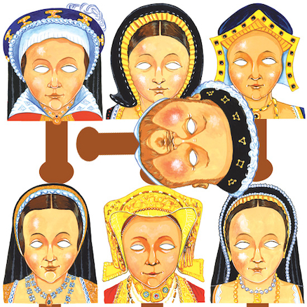 Henry VIII and His Wives Role Play Face Masks 7pk  large