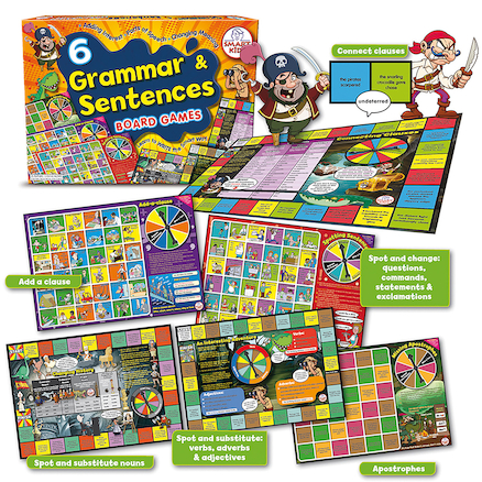6 Grammar \x26 Sentences Board Games  large