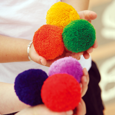 Fleece Fluff Balls 6 colours 7.5cm 12pk  large