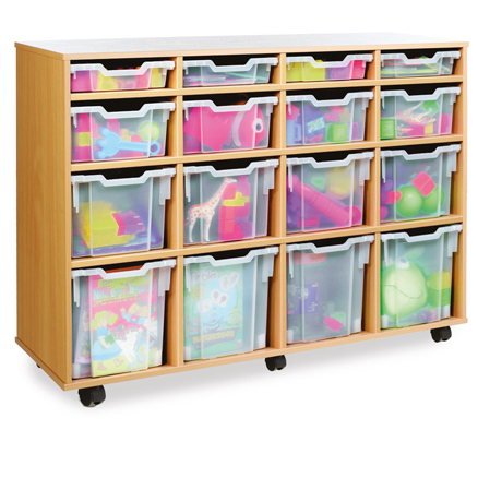 Mobile Tray Storage Unit With 16 Mixed Size Trays  large