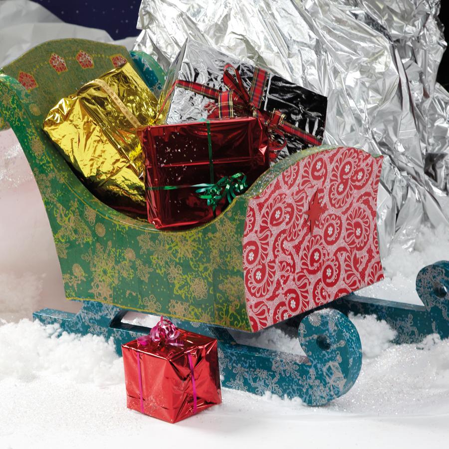 120in Wide Giant Santa Sleigh Two Reindeer Set: Buy Giant Papier Mache Santas Reindeer And Sleigh