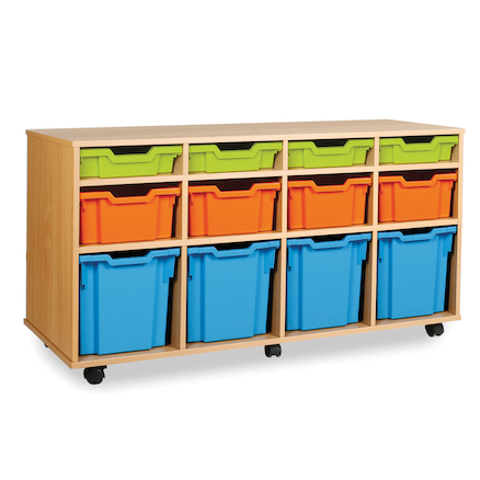 Mobile Tray Storage Unit With 12 Mixed Size Trays  large
