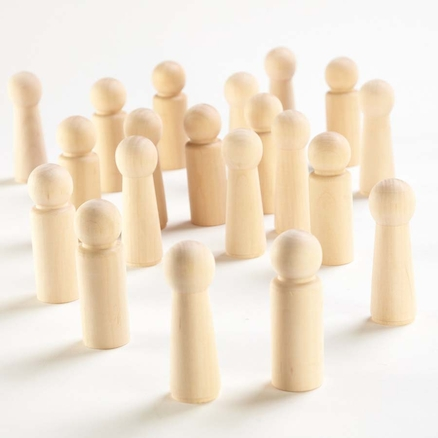 Small World Natural Wooden Peg People 20pk  large