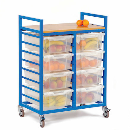 Large Trolley With Eight Lidded Trays  large